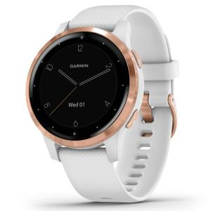 Garmin vívoactive® 4S Rose Gold Stainless Steel Bezel with White Case and Silicone Band