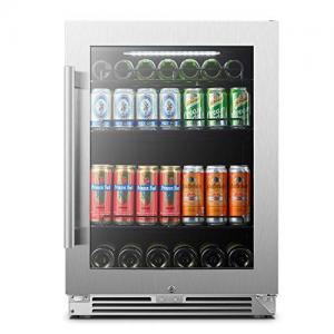 LanboPro 24″ Stainless Steel Undercounter Beverage Refrigerator 118 Can Capacity Triple-Layer Tempered Glass Door