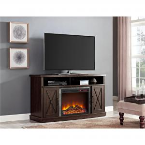 Ameriwood Home Barrow Creek Electric Fireplace TV Stand for TVs up to 60″, Espresso