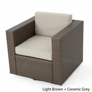 Cascada Outdoor Wicker Swivel Club Chair with Water Resistant Cushions, Light Brown, Ceramic Grey
