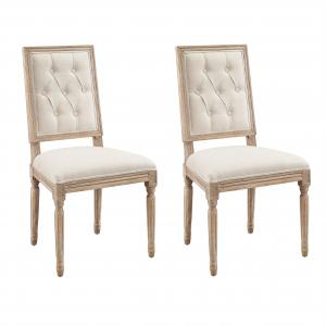 Linon Avalon Tufted Dining Chairs, Set of 2, Natural