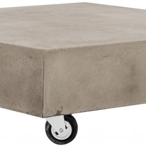 Safavieh Gargon Outdoor Concrete Coffee Table with Casters – Dark Grey