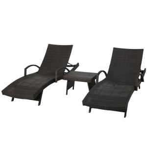 Anthony Outdoor Wicker Adjustable Chaise Lounge with Arms and Table, Set of 3, Multibrown