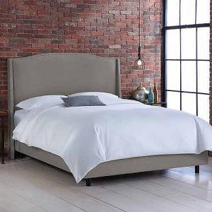 Skyline Furniture Grey Upholstered Wingback Bed with Nailheads, Multiple Sizes