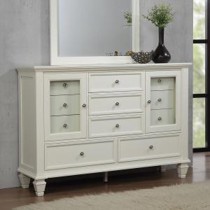 Simple Relax 6-Drawer Wood Dresser With Metallic Block Feet, Glossy White