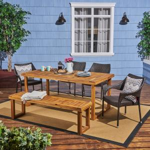 Amina Outdoor 6 Piece Acacia Wood Dining Set with Bench and Wicker Stackable Chairs, Sandblast Natural Stained, Multi Brown