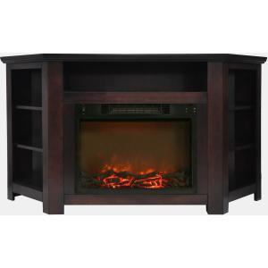 Cambridge Stratford 56″ Electric Corner Fireplace Heater with Charred Log Display
