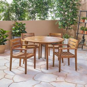 Jaxson Outdoor 5 Piece Acacia Wood Round Dining Set, Teak