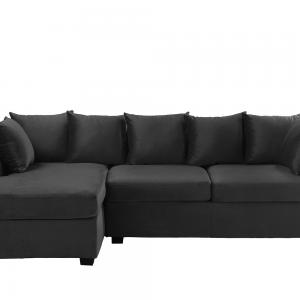 Classic L-Shape Couch Large Velvet Sectional Sofa with Extra Wide Chaise Lounge, Dark Grey