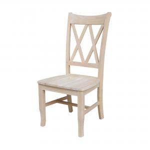 International Concepts Double X-Back Chair, Set of 2, Unfinished
