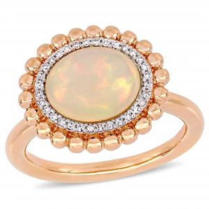 2-3/4 Carat T.G.W. Ethiopian Opal and 1/10 Carat T.W. Diamond 14kt Rose Gold Beaded Halo Ring