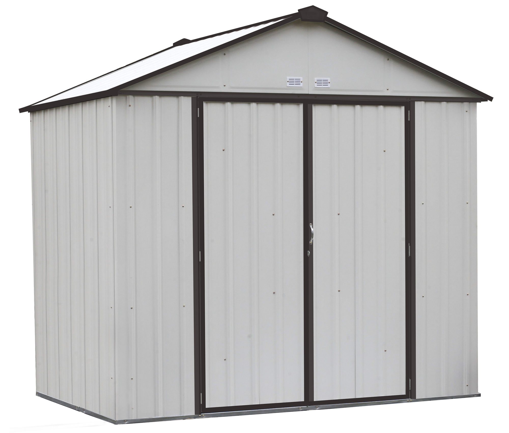 Steel Storage Shed 8 x 7 ft. Galvanized High Gable Cream/Charcoal Trim