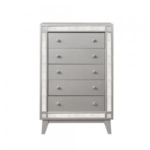 5-Drawer Wood Chest With Mirror Accent, Metallic Mercury