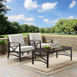 Crosley Furniture Kaplan 3 Pc Outdoor Seating Set With Oatmeal Cushion – Two Outdoor Chairs, Coffee Table