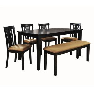 Lexington 6-Piece Large Dining Set with 4 Slat Back Chairs and Bench