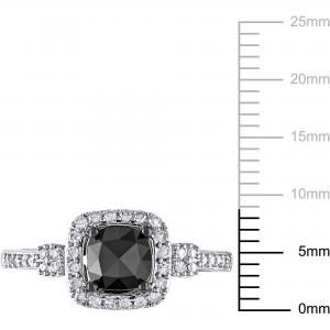 1 Carat T.W. Cushion and Round-Cut Black and White Diamond 14kt White Gold Halo Engagement Ring