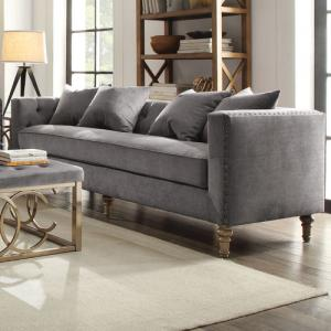 ACME Sidonia Down Feather Filled Sofa with 4 Pillows, Grey Velvet