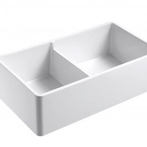 Olde London Farmhouse Fireclay 33″ Double Bowl Kitchen Sink with Grid and Strainer in White
