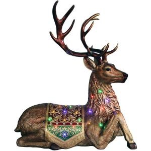 Fraser Hill Farm Indoor/Outdoor Oversized Christmas Decor with Long-Lasting LED Lights, 4-Ft. Tall Sitting Reindeer with Metallic Finish