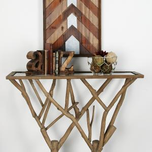 Decmode Natural 36 x 45 Inch Brown Branch-Design Console Table