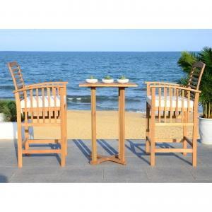 Safavieh Pate 3 Piece Outdoor Bistro Set w/ Cushion and Accent Pillow