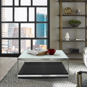 Armen Living Manchester Contemporary Coffee Table with Polished Stainless Steel and Glass Top
