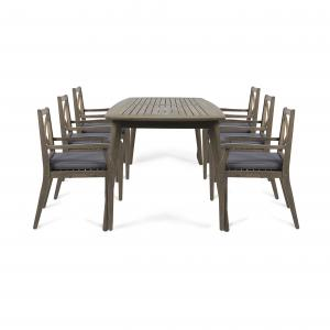 Josephine Outdoor 7 Piece Acacia Wood Dining Set with Cushions, Gray, Dark Gray