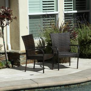 Outdoor Wicker Brown Stackable Club Chairs (Set of 2)