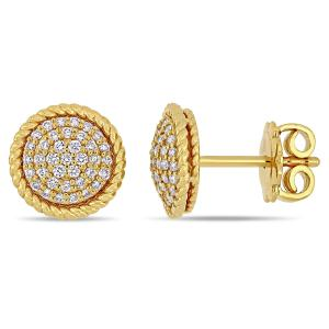 Miabella 1/3 Carat T.W. Diamond 14kt Yellow Gold Cluster Stud Earrings