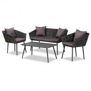 Baxton Studio Stewart Modern and Contemporary Grey Fabric Upholstered and Grey Finished Metal 4-Piece Outdoor Patio Set
