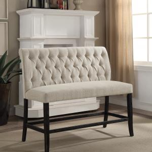 Furniture of America Verona Upholstered Counter Bench, Beige and Black