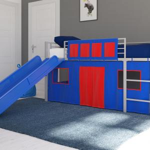 DHP Junior Silver Loft Bed with Blue Slide and Blue Curtain Set, Kid's Bundle, Twin