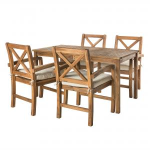Manor Park 5-Piece X-Back Wood Outdoor Patio Dining Set, Brown