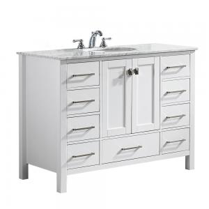 Gela 48″ Single Vanity in White with Carrara White Marble Countertop without Mirror