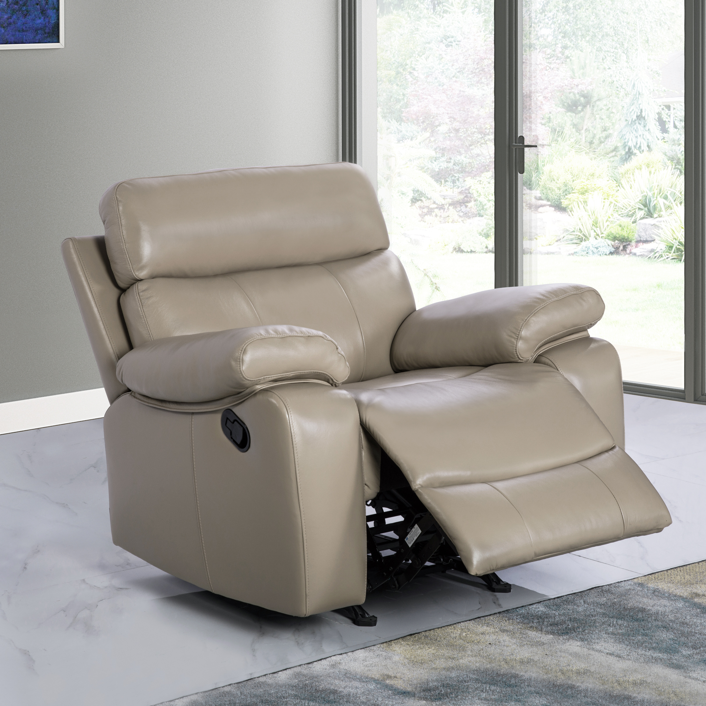 Abbyson Clark Leather Recliner, Beige