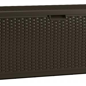 Suncast 73-Gallon Deck Box – Resin Indoor/Outdoor Storage Container and Seat for Patio, Garage, Yard – Mocha Brown