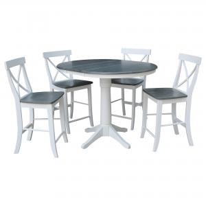 36″ Round Extension Dining Table With 4 X-Back Counter Height Stools