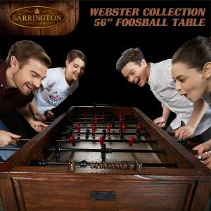 Barrington Webster Collection 56″ Foosball Soccer Table, Accessories Included, Brown