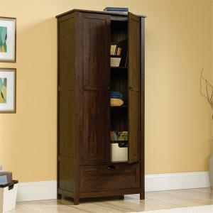 Sauder Storage Cabinet, Rustic Walnut Finish