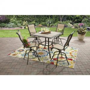 Mainstays Wesley Creek Outdoor Patio Dining Set, 5 Piece Metal Bar Height