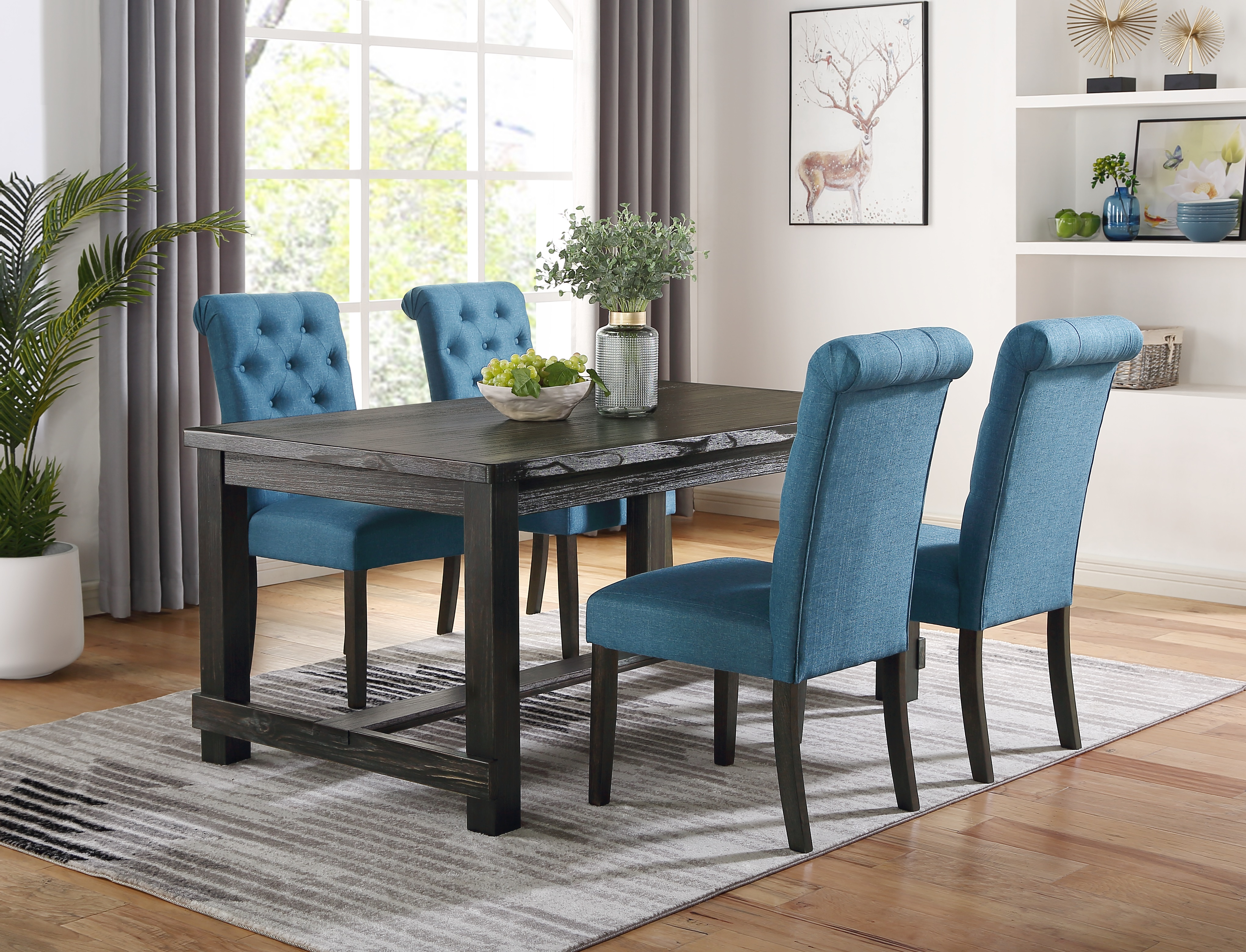 Leviton Antique Black Finished Wood Dining Set, Table with Four Chairs, Blue