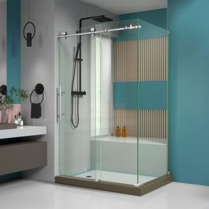 DreamLine Enigma-X 32 1/2 in. D x 48 3/8 in. W x 76 in. H Fully Frameless Sliding Shower Enclosure in Brushed Stainless Steel