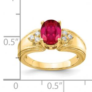 Primal Gold 14 Karat Yellow Gold 8x6mm Oval Ruby and Diamond Ring