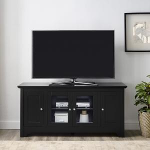 Walker Edison Black Wood TV Stand for TVs up to 58″