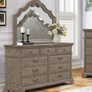 Levan 9-Drawer Wood Dresser with Mirror in Light Gray