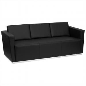 Flash Furniture HERCULES Trinity Series Contemporary Black LeatherSoft Sofa with Stainless Steel Base