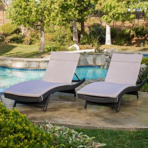 Anthony Outdoor Wicker Adjustable Chaise Lounge with Cushions, Set of 2, Grey, Textured Beige