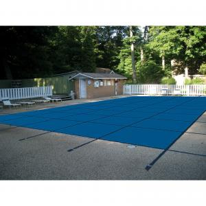 WaterWarden Inground Pool Safety Cover, Fits 16' x 32', Right End Step, Blue Mesh