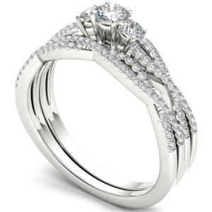 1/2 Carat T.W. Diamond Criss-Cross Shank Three-Stone 14kt White Gold Engagement Ring Set