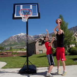 Lifetime 48″ Shatterproof Portable One Hand Height Adjustable Basketball System in Black, 51550